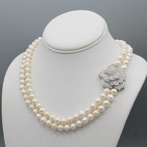 White freshwater pearl necklace rose silver